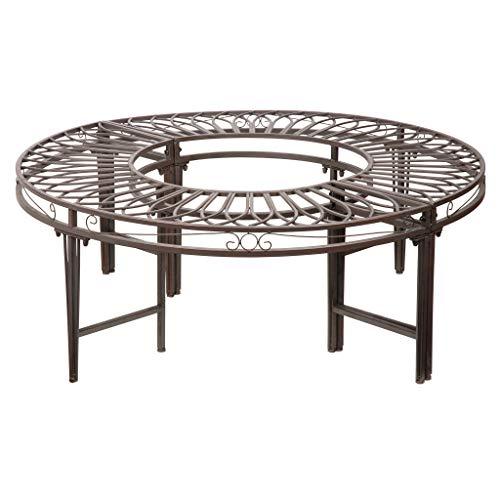 Design Toscano Rotonda circolare Panca di alberi da giardino, parti in metallo e acciaio, grigio, 119 cm