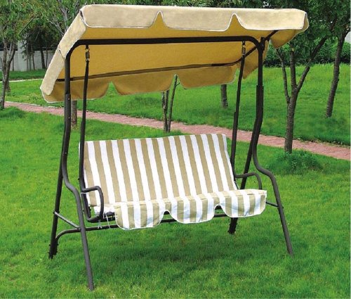 Dondolo da giardino, in acciaio verniciato Telo in poliestere 160 gr/m² Riga beige, misure: 170x110x153h, Garden Friend