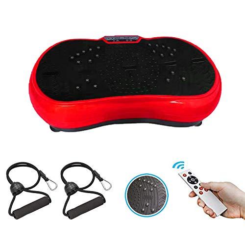 GoFun Pedana vibrante Powerplate per allenamento di tutto il corpo con 2 espansori e condizioni remote 200 W, perfetto per bruciare i grassi (rosso/nero)