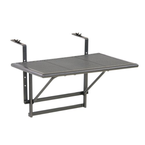 greemotion 416505 Tavolino Pieghevole da Balcone, Regolabile in Altezza, Grigio, Piccolo