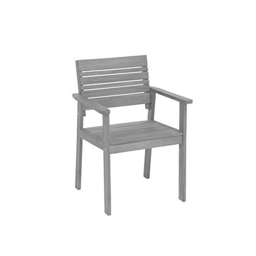 """greemotion Sedia da giardino modello """"Maui"""", sedia poltrona in legno di acacia, sedia legno giardino terrazzo, ca. 58 x 83 x 56 cm"""
