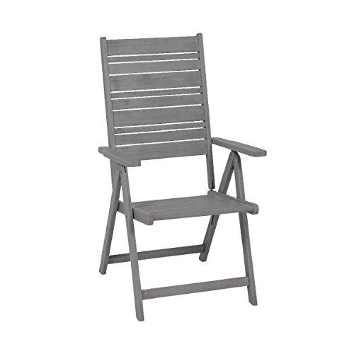 """greemotion Sedia pieghevole giardino esterno balcone terrazzo con braccioli modello """"Maui"""", sedia pieghevole in legno di acacia, sedia richiudibile giardino, ca. 59 x 109 x 69 cm"""