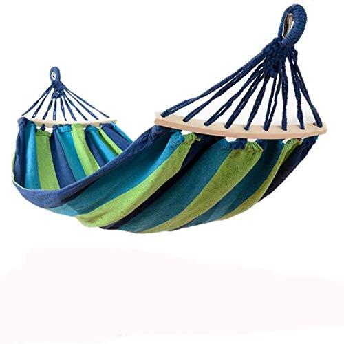 HENG FENG Amaca in tela di cotone 220 * 150 cm con aste in legno da 80 cm e cuscino portatile per giardini interni ed esterni in campeggio Blu verde