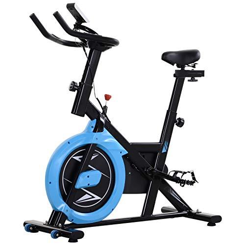 homcom Cyclette con Trasmissione a Cinghia | Intensità, Manubrio e Sellino Regolabili | Schermo LCD | Nero e Azzurro