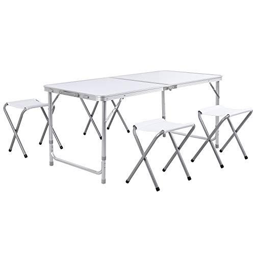 Homfa Tavolo da Picnic Pieghevole per Esterno Tavolo da Gruppo Gruppo familiare Bianco (1.2M+Quattro sgabelli)