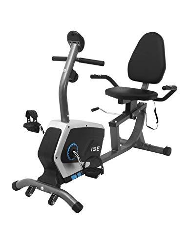 ISE - Cyclette Ergometro con sistema frenante magnetico, ruote di trasporto, sensori di frequenza cardiaca e display LCD, 8 livelli di resistenza regolabili