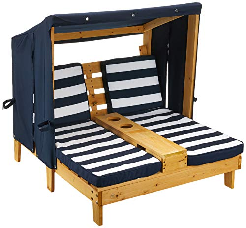 Kidkraft 524 - Doppia Sedia A Sdraio da Giardino, per Bambini, Legno, con Porta Tazze, Blu Scuro/Bianco, 92.96 x 86.36 x 88.9 cm, Età 3-4 anni
