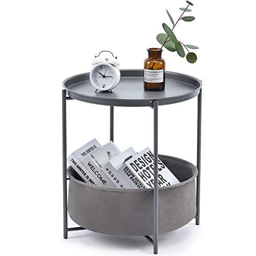 Kingrack Tavolino,Tavolino Rotondo,Tavolino da Salotto Divano,tavolo da tè piccolo e rotondo ,Tavolino basso da divano,con cestino,per Soggiorno, Balcone