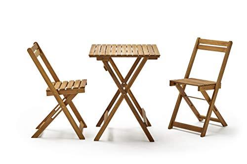 KitGarden – Set di mobili da balcone/giardino pieghevole, in legno di acacia FSC, 1 tavolo + 2 sedie, legno naturale, porto