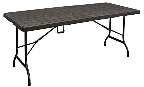 KitGarden – Tavolo pieghevole multifunzione, imitazione legno, 180 x 75 x 74 cm, marrone, Wood 180