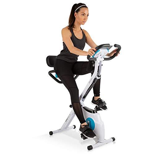 Klarfit Azura Plus - Cyclette 3 in 1 per fitness, allenamento cardio, con cinghia, pulsimetro, 8 livelli di resistenza magnetica, bianco