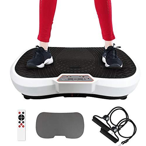 Leogreen Fitness Pedana Vibrante, Piattaforma vibrante per l'allenamento del Corpo, con Tappetino Yoga, Telecomando, Fasce di Resistenza, 180 Livelli, 6