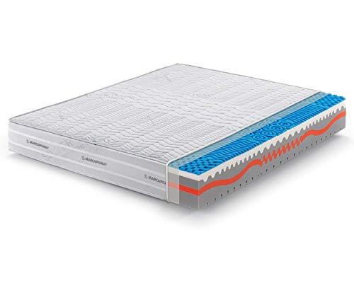 Marcapiuma - Materasso Matrimoniale Memory 160x190 alto 25 cm - SUNSHINE - Rigidità H2 Medio - Dispositivo Medico - Rivestimento Carbonio Silver Sfoderabile Antiacaro 100% Made in Italy