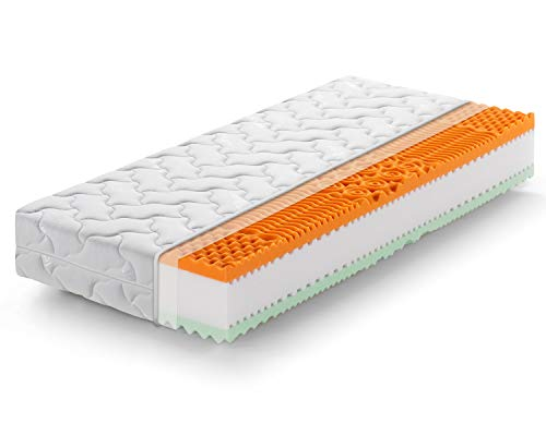 Marcapiuma - Materasso Singolo Memory Bio 90x200 Alto 22 cm - Rainbow Plus - H3 Rigido Dispositivo Medico Rivestimento Silver sfoderabile - Antiacaro Antibatterico Anallergico - 100% Made in Italy