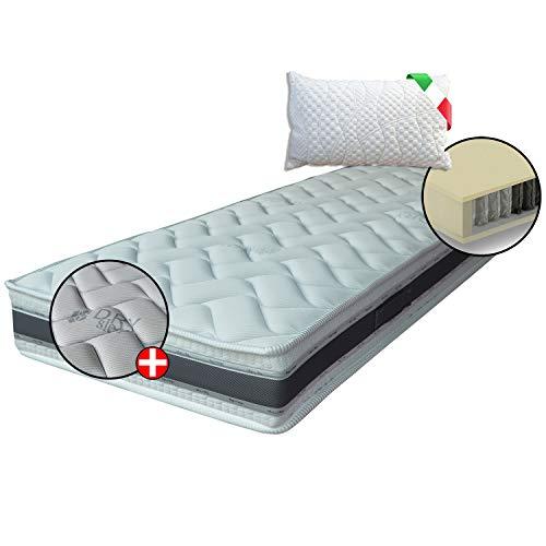 Materasso ORTOPEDICO 400 molle insacchettate indipendenti, MATERASSO DISPOSITIVO MEDICO, Comfort 7 zone+1 cuscino, fascia 3D e fibre Naturali, singolo 80x190 cm