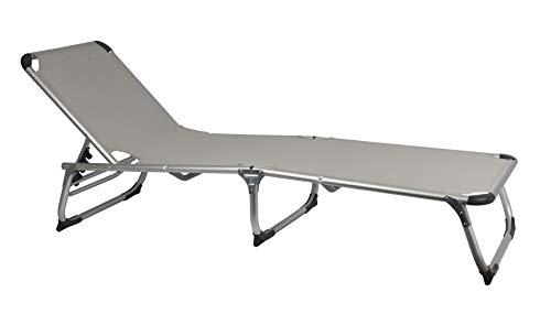 MaxxGarden, lettino prendisole pieghevole da campeggio, sdraio relax in alluminio, 189 x 59 cm, grigio