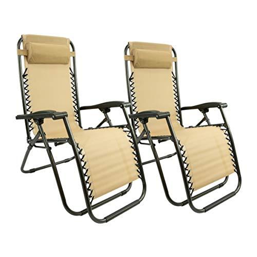 MaxxGarden Relax – Set di sedie a sdraio da giardino, terrazzo o balcone, pieghevoli e regolabili, Textoline