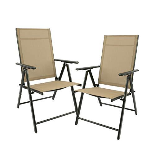 MaxxGarden Set di 2 sedie pieghevoli da giardino, da campeggio, da giardino, terrazza, balcone, sedia pieghevole in alluminio e plastica, beige