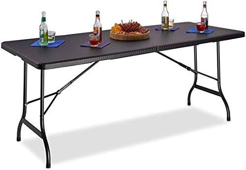 MaxxGarden Tavolo da Giardino Tavolo da Campeggio Look PolyRattan 180x74x74 cm Tavolino Pieghevole Esterno Nero
