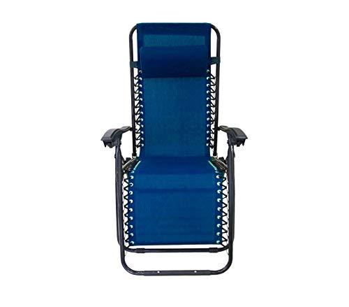 Mediawave Store Sedia Sdraio Blu Pieghevole EVERTOP 485330 Totalmente reclinabile gravità Zero