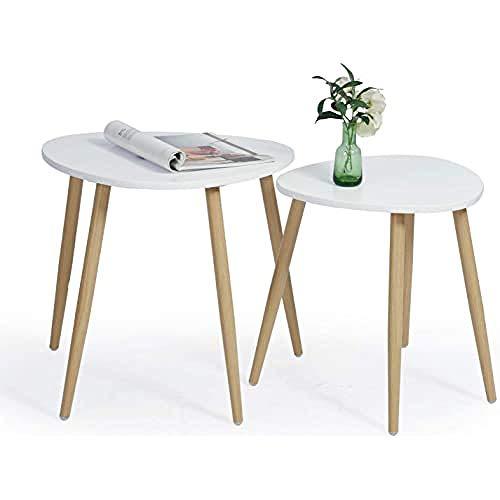 MEUBLE COSY Set di 2 Rotondi, Moderno Minimalista, Stile scandinavo, tavolino da caffè per Soggiorno, Balcone, Bianco, 50x42x48/42,5x38,5x44,5cm