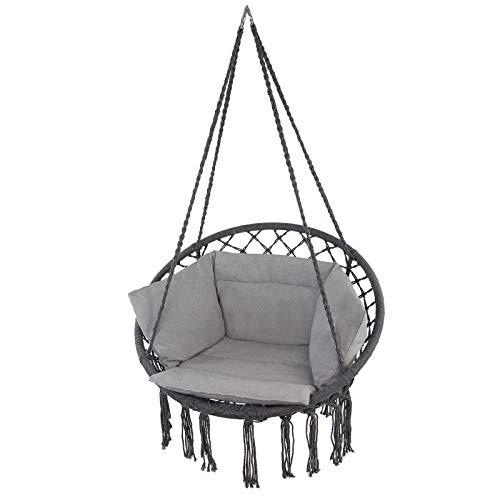 Montafox Sedia Poltrona Sospeso Esterno Interno Diametro Seduta 60 cm Cuscino Grande Altalena Sospesa Max. 150 kg, Colore:Grigio