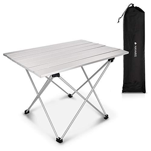 Navaris Tavolo Pieghevole in Alluminio - Tavolino Portatile Ripiegabile con Borsa da Trasporto 1,24kg da Esterno Spiaggia Giardino Campeggio Balcone