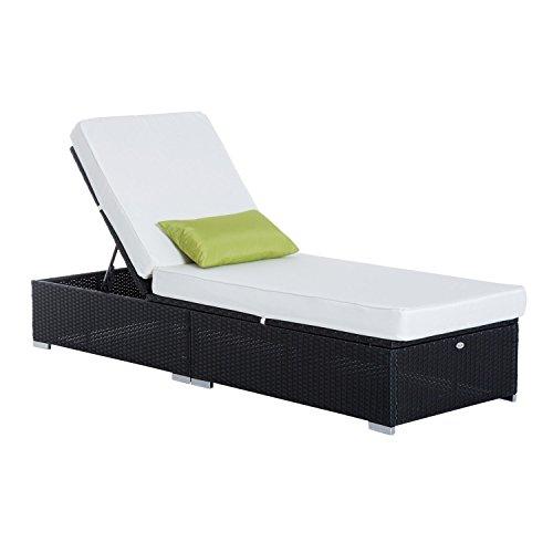 Outsunny Lettino Prendisole Sdraio di Lusso da Giardino PE Rattan e Alluminio Sedia Lounge
