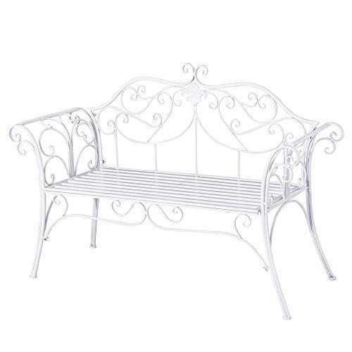 Outsunny Panca da Giardino Panchina 2 Posti Esterno Metallo 131 × 51 × 90cm Bianco