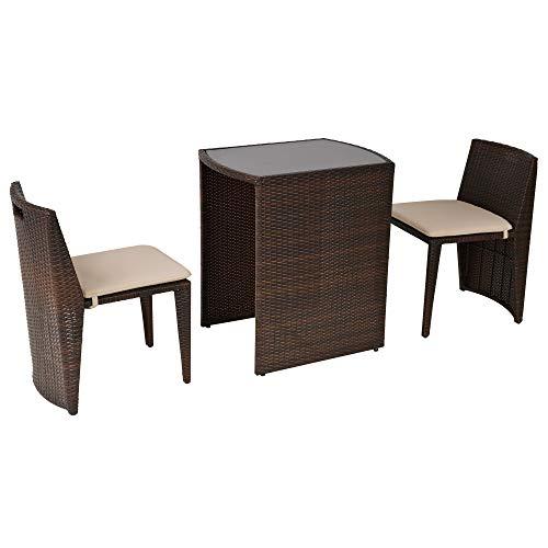 Outsunny Set 2 Pezzi Mobili da Giardino in Rattan con 1 Tavolo e 2 Sedie con Cuscini, Design Salvaspazio, Marrone