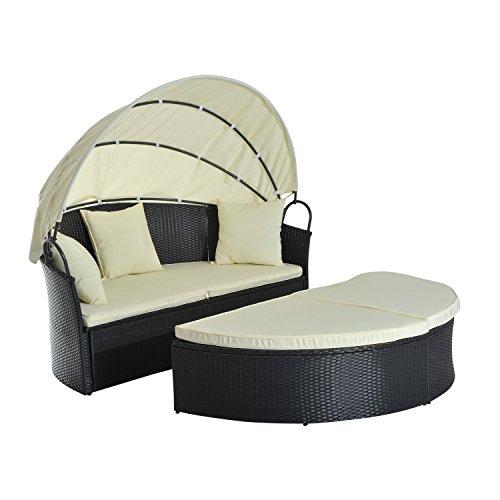 Outsunny Set di Mobili da Giardino in Rattan Tenda Parasole 1 Lettino 1 Poggiapiedi 3 Cuscini Quadrati e 4 Cuscini Poliestere-180g/m² Crema, Nero Max:180Kg 171x180x78cm