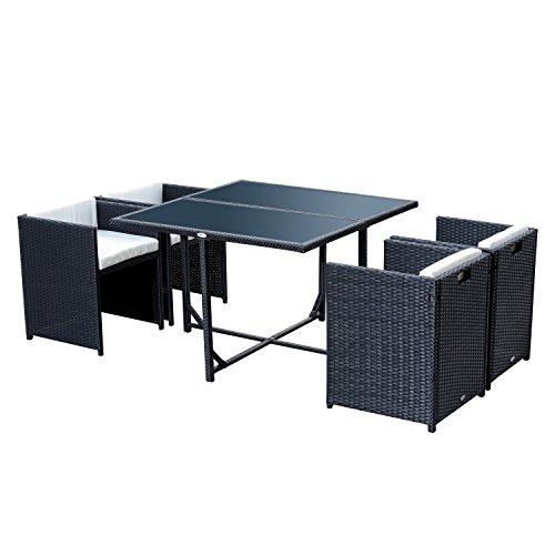 Outsunny Set Mobili da Giardino 5pz Set Tavolo da Pranzo con 4 Sedie con Cuscini Combinabili a Rettangolo
