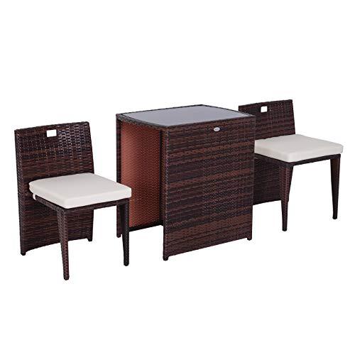 Outsunny Set Mobili da Giardino in Rattan e Ferro 3 pz Set di Tavolino e Sedia con Cuscino