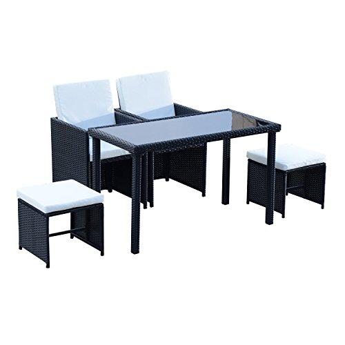 Outsunny Set Mobili da Giardino Rattan 5 Pezzi Tavolo 2 Sedie 2 Poggiapiedi con Cuscini Combinabili a Rettangolo