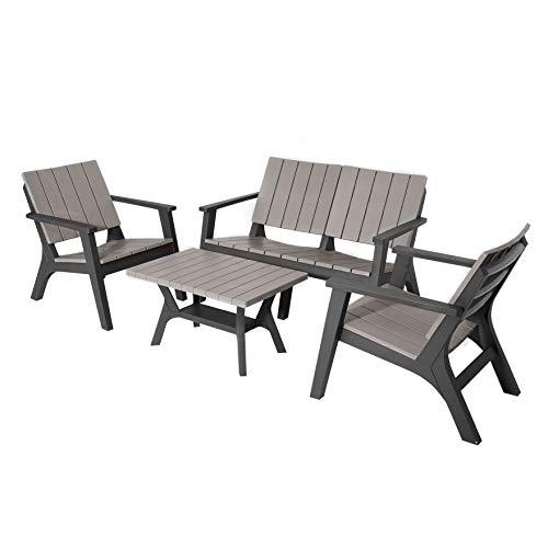 Outsunny Set Tavolino e Sedie da Giardino, Salotto da Esterno con Tavolo e Sedie Adirondack, 4 Pezzi, Grigio e Nero