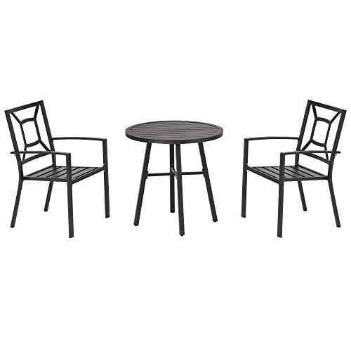Outsunny Set Tavolo e 2 Sedie da Giardino in Acciaio Nero per Esterni, Terrazzo, Blacone, 3 Pezzi