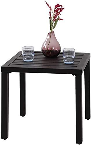 PHIVILLA Tavolino quadrato in acciaio con rivestimento antiruggine Tavolino da giardino Tavolino Nero48 * 48 * 46cm