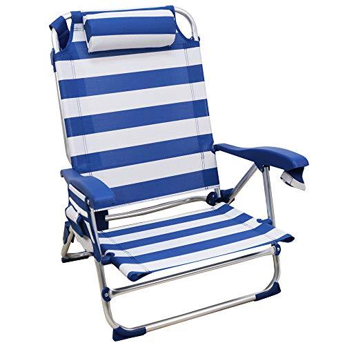 Rainbow Beach Chair, Sedia Pieghevole per Spiaggia, Giardino, Campeggio (1 unità, Strisce blu e bianche)