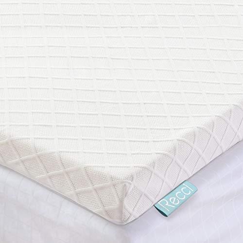 RECCI Topper Memory Foam 6cm, Topper Materasso per Alleviare Pressione, Coprimaterasso con Rivestimento Ipoallergenico in Bamboo - Rimovibile e Lavabile, CertiPUR-EU (180x200x6cm)