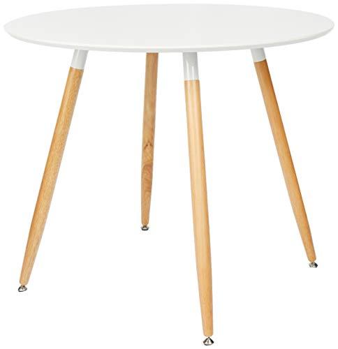 Relaxdays 10020557-49 Tavolo da Pranzo Rotondo, Legno, Bianco, 90x90x74 cm