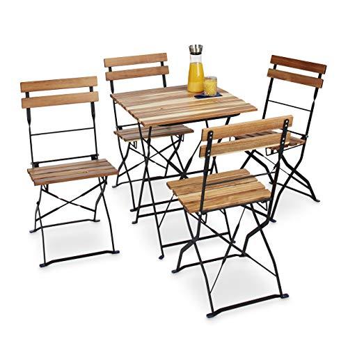 Relaxdays 10020685 Set 4 Pezzi Sedie da Giardino, in Metallo E Legno Naturale, Senza Braccioli, Marrone, 44x42x84 cm