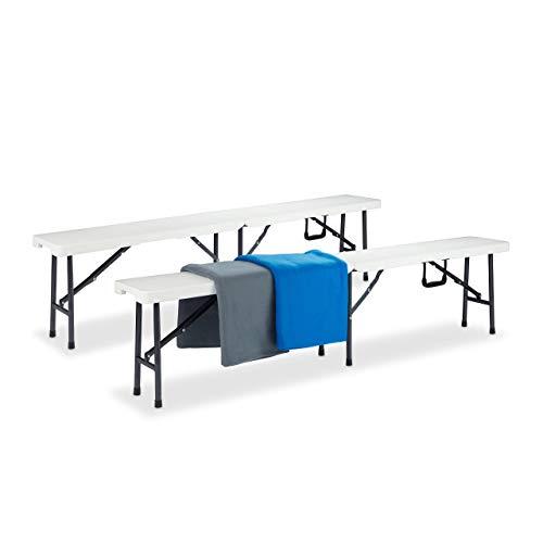 Relaxdays Panca da Birreria, Set da 2 Panchine Pieghevoli, Portatili, Facili da Lavare, Plastica, HLP 42x180x25cm,bianco, metallo, 2 pz