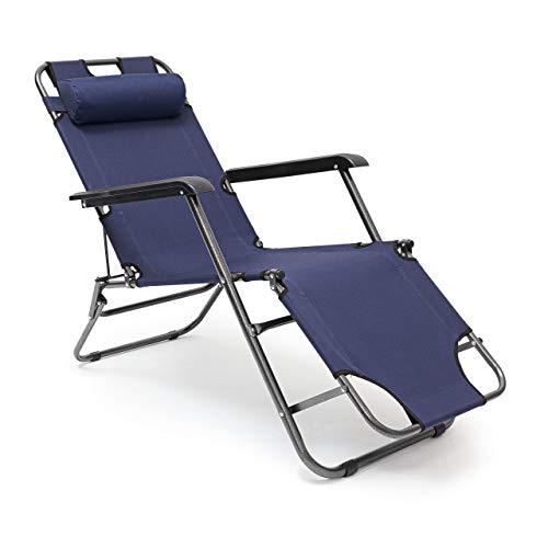 Relaxdays Sedia Sdraio Relax Reclinabile, Tre Posizioni Disponibili e Poggiatesta Rimuovibile, Portata Massima: 100 kg, Blu Scuro, 153x60.5x35 cm