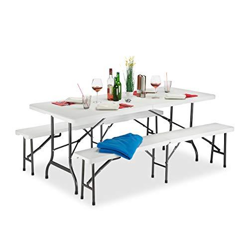 Relaxdays Set Chiosco Tavolo Panche ribaltabili, 3 Pezzi Arredo Giardino, Monocolore, Bianco, H x L x P: 74 x 180 x 74, 5 cm