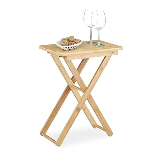 Relaxdays Tavolino pieghevole, da salotto, giardino, in bambù, piccolo, forma rettangolare, HxLxP 52x40x31 cm, marrone