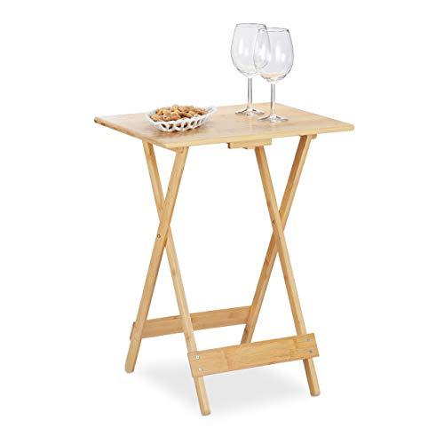 Relaxdays Tavolino Pieghevole in bambù, Arredamento Salvaspazio per Salotto, Balcone & Terrazza, Tavolo Home, Naturale, 1 pz