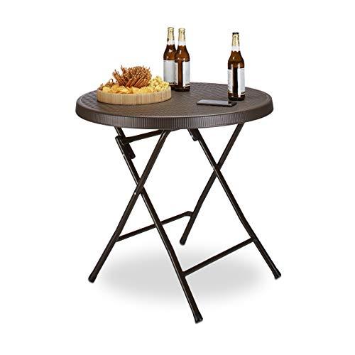 Relaxdays Tavolo da Esterno in Ottica Rattan Modello Bastian Disponibile in Diverse Misure e con Struttura in Metallo, Marrone Scuro
