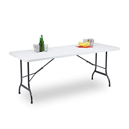 Relaxdays Tavolo da Giardino Pieghevole, trasportabile Come Una Valigia, Resistente agli Agenti atmosferici, Bianco, HLP: 72 x 180 x 75 cm