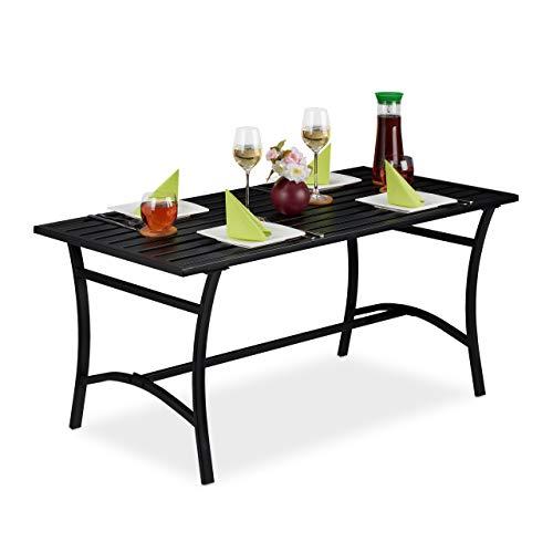 Relaxdays Tavolo da Giardino, Rettangolare, Terrazza & Balcone, Rivestimento Antiruggine, Metallo, 55,5x120x60cm, Nero, Acciaio