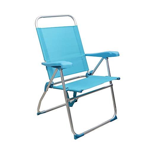 Sedie da Spiaggia, Sedia da Spiaggia Portatile, Pieghevole, in Alluminio, con Cuscino (1 Unidad, Azul Claro)